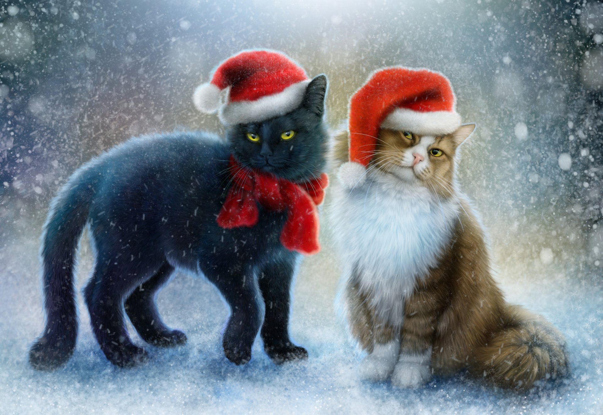 Holiday - Christmas  Artistic Holiday Cat Snow Snowfall Santa Hat Scarf Wallpaper