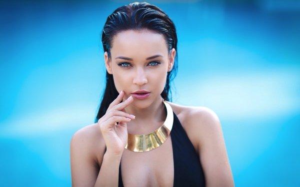 Women Angelina Petrova Models Ukraine Ukrainian Model Brunette Blue Eyes Necklace HD Wallpaper | Background Image