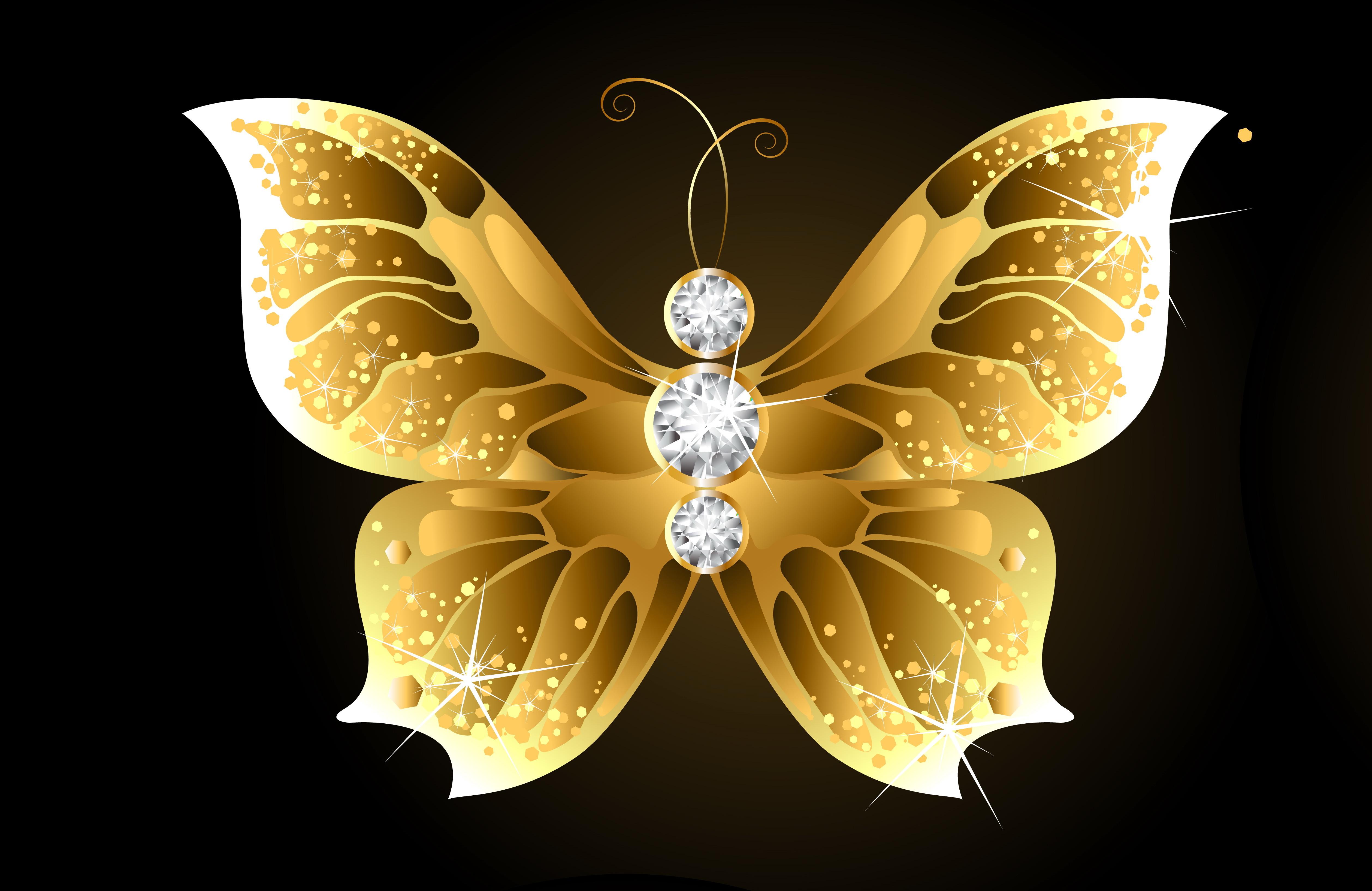 Golden Butterfly 4k Ultra HD Wallpaper | Background Image ...
