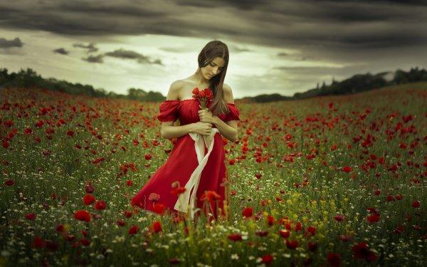 Women Mood Poppy Field Flower Red Dress Brunette Red Flower HD Wallpaper | Background Image