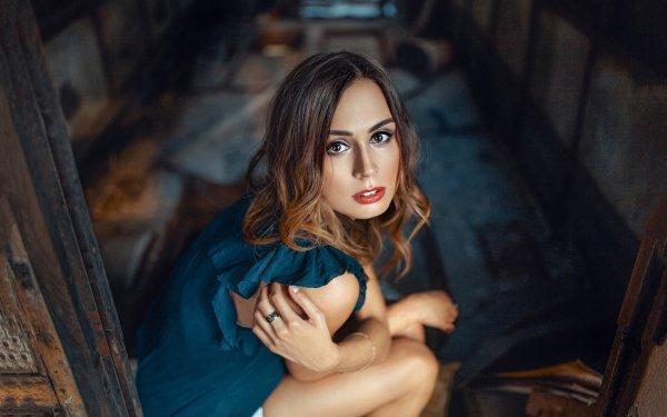 Women Model Models Brunette Brown Eyes Lipstick HD Wallpaper | Background Image