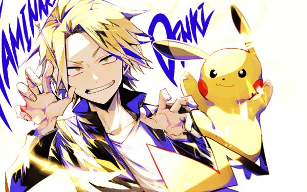 Anime Crossover Denki Kaminari Pikachu My Hero Academia Pokémon Yellow Eyes Smile Tail Lightning Headphones Blonde HD Wallpaper | Background Image