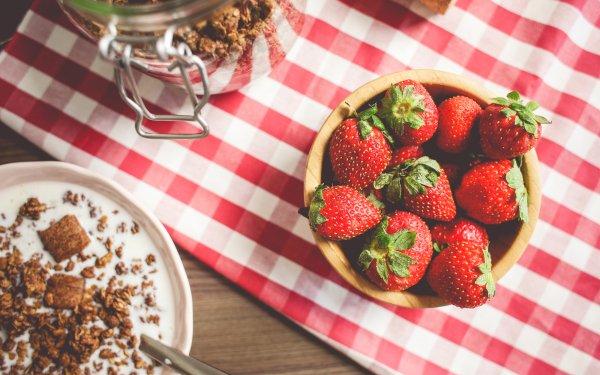 Food Breakfast Strawberry Muesli Tablecloth HD Wallpaper | Background Image