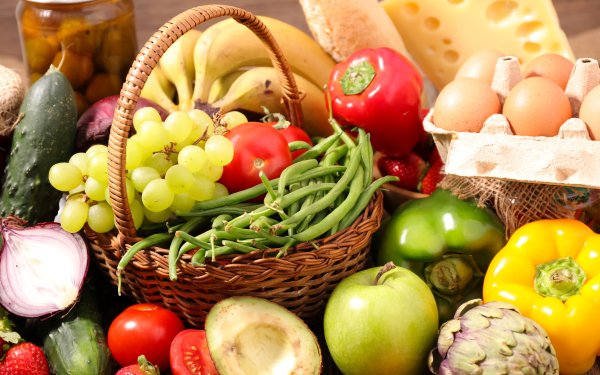 Food Still Life Fruit Vegetable Grapes Pepper Tomato Apple Cheese Cucumber Banana Strawberry Egg HD Wallpaper | Background Image