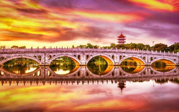 Man Made Bridge Bridges Sunset Singapore Garden Reflection HD Wallpaper   Background Image