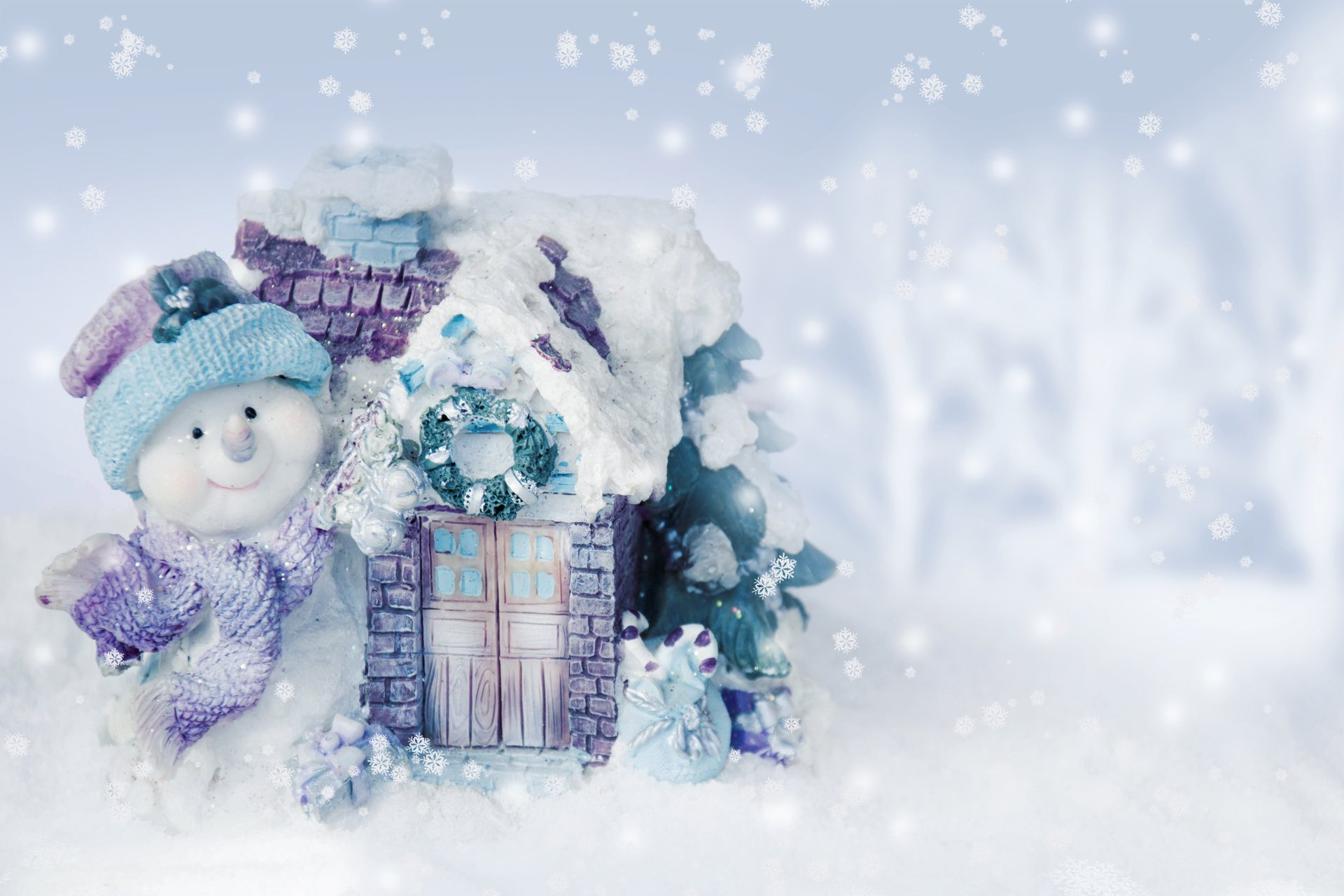 Holiday - Christmas  Holiday Winter Snowman House Snowflake Snow Cold Blue White Decoration Wallpaper