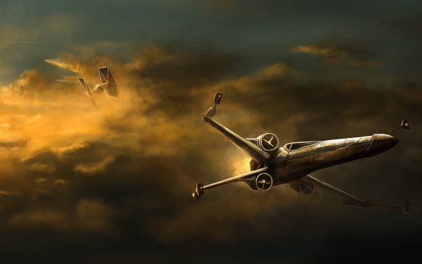 Sci Fi Star Wars Spaceship X-Wing TIE Fighter Cloud HD Wallpaper | Background Image