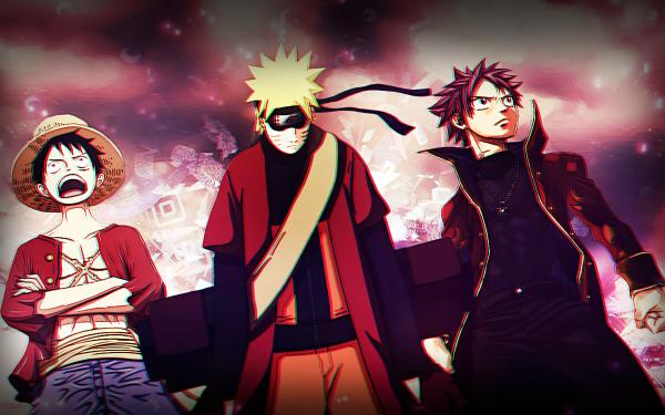 Anime Crossover Natsu Dragneel Monkey D. Luffy Naruto Uzumaki Fairy Tail One Piece HD Wallpaper | Background Image