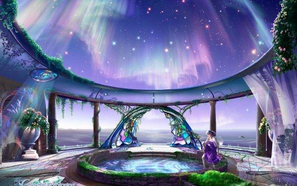 Artistic Fantasy Aurora Borealis Stars Sky HD Wallpaper | Background Image