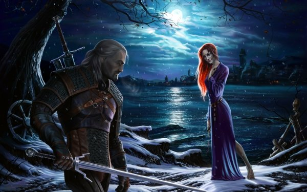 Video Game The Witcher 3: Wild Hunt The Witcher Night Moon Warrior Geralt of Rivia Redhead Purple Dress HD Wallpaper | Background Image