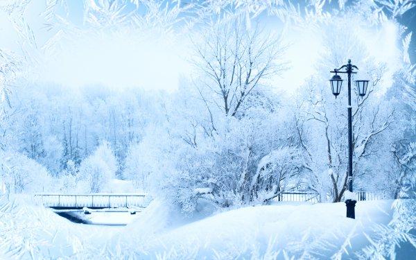 Artistic Winter Park Snow Bridge Ice Frost Lamp Post HD Wallpaper | Background Image