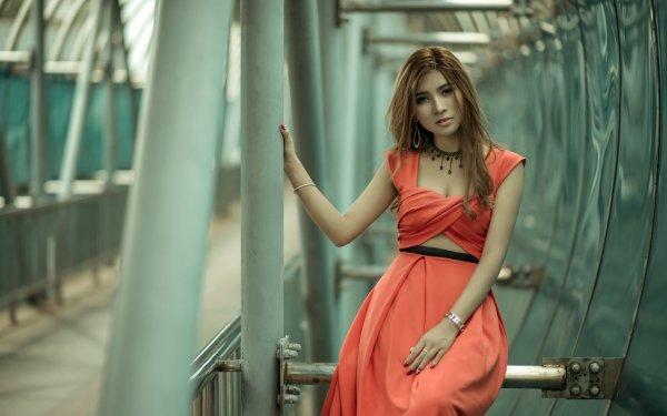 Mujeres Asiática Woman Modelo Morena Red Dress Fondo de pantalla HD | Fondo de Escritorio