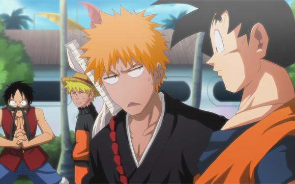 Anime Crossover Naruto Uzumaki Monkey D. Luffy Ichigo Kurosaki Goku Naruto One Piece Bleach Dragon Ball Dragon Ball Z HD Wallpaper | Background Image