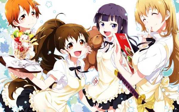 Anime Working!! Aoi Yamada Popura Taneshima Mahiru Inami Yachiyo Todoroki HD Wallpaper | Background Image