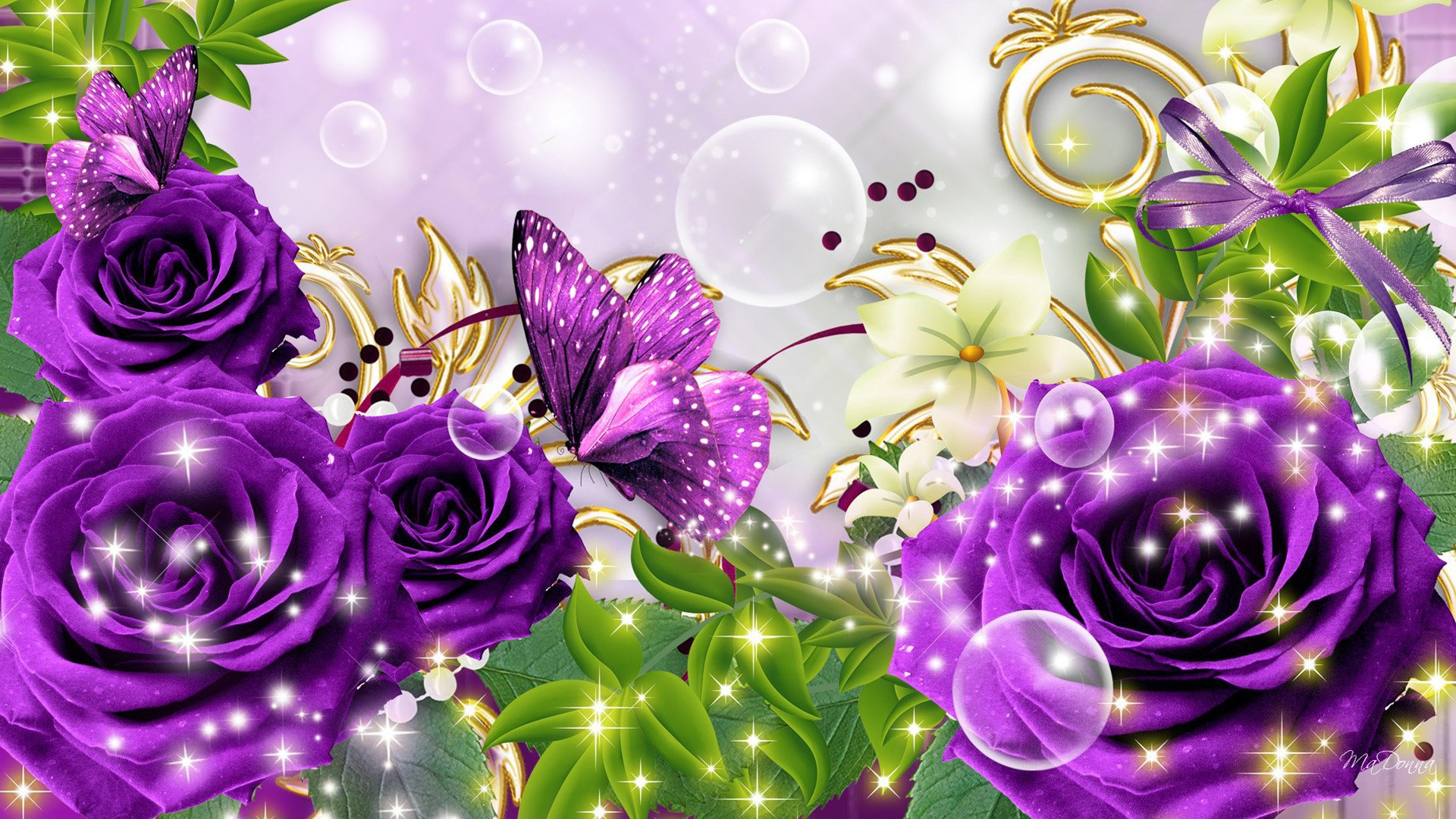 Purple Roses And Butterflies Hd Wallpaper Achtergrond 1920x1080