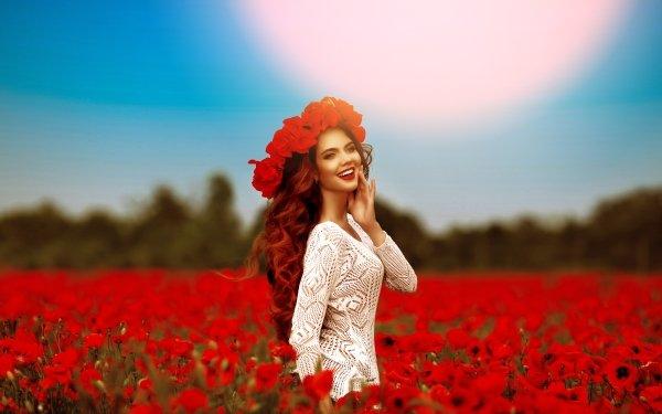 Women Model Models Smile Redhead Lipstick Blur Field Wreath Red Flower Poppy HD Wallpaper | Background Image