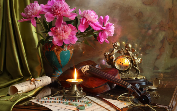 Photography Still Life Flower Candle Violin Sheet Music Pink Flower HD Wallpaper | Background Image