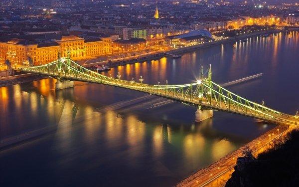 Man Made Budapest Cities Hungary River Danube Night Light Bridge HD Wallpaper | Background Image