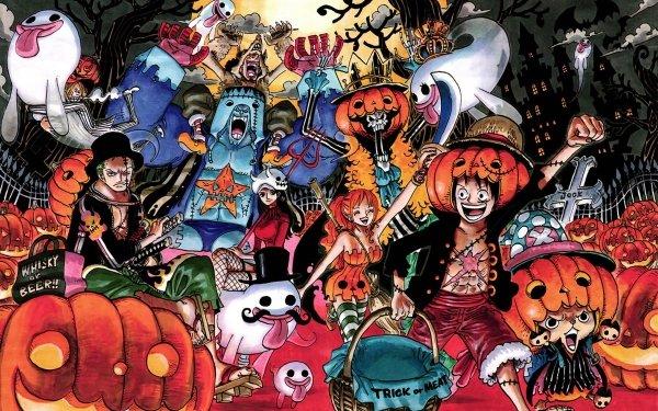 Anime One Piece Helgdag Halloween Nami Monkey D. Luffy Nico Robin Tony Tony Chopper Roronoa Zoro Sanji Franky Usopp Brook HD Wallpaper | Background Image
