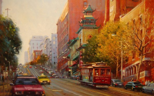 Artistic Painting City San Francisco House Car Fall Tram HD Wallpaper | Background Image