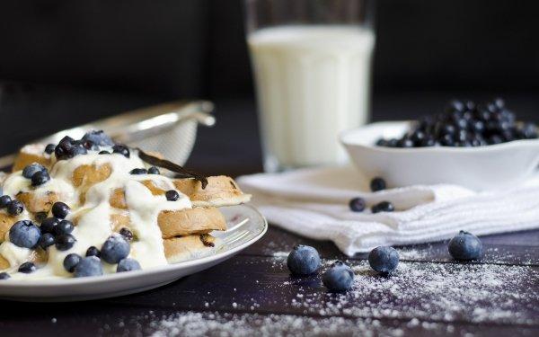 Alimento Desayuno Gofre Arándano Fondo de pantalla HD | Fondo de Escritorio