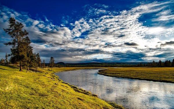Earth River Nature Landscape Sky Cloud Grass Horizon HD Wallpaper | Background Image