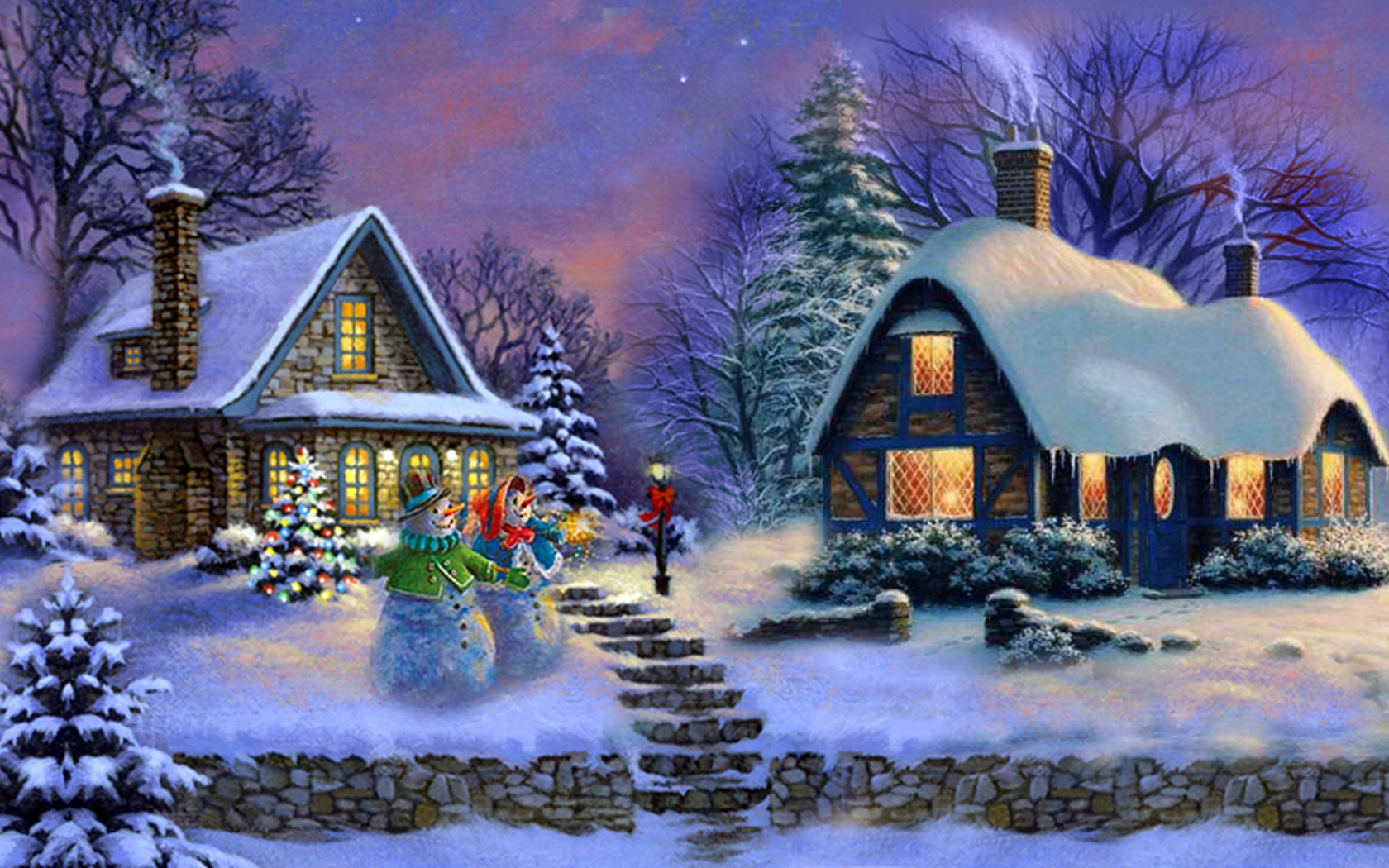 Christmas house painting - Artistic Painting Artistic Christmas House Snowman Tree Wallpaper
