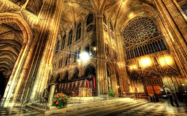 Religious Notre-Dame de Paris Cathedrals Altar Architecture HDR HD Wallpaper   Background Image