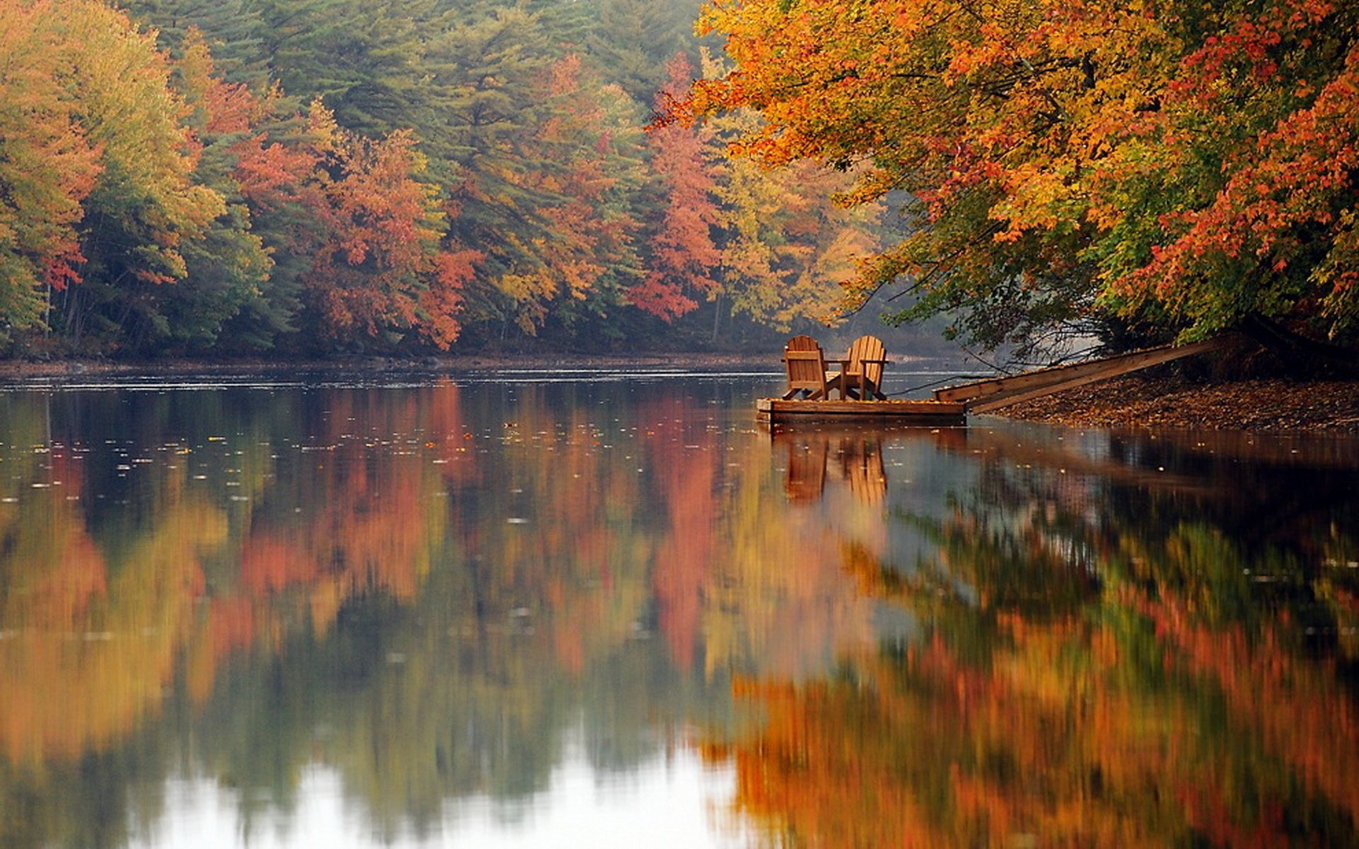 Chairs On Autumn Lake Hd Wallpaper Background Image 1920x1200 Id 750649 Wallpaper Abyss