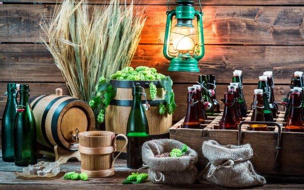 Photography Still Life Wheat Beer Bottle Lantern Alcohol Barrel HD Wallpaper | Background Image