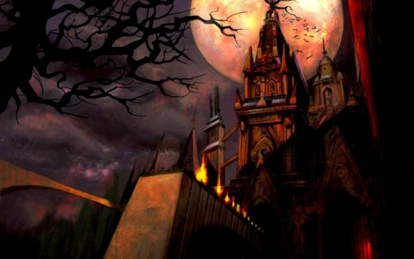 Oscuro Castle Castillos Halloween Luna Noche Fondo de pantalla HD | Fondo de Escritorio