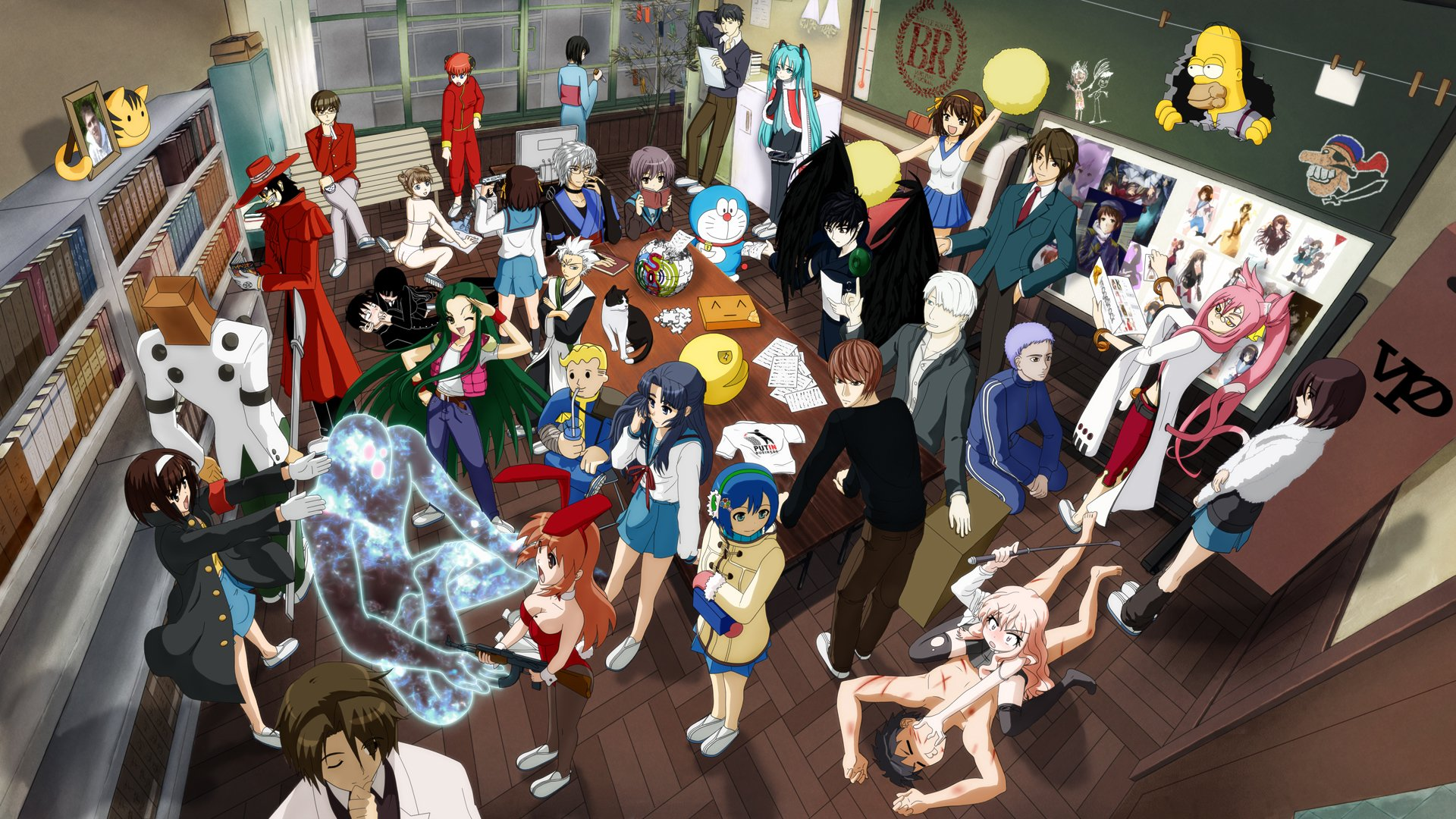 Anime - Crossover  Assassination Classroom Kyon (Haruhi) Light Yagami Hatsune Miku Alucard (Hellsing) Haruhi Suzumiya Yuki Nagato Guilty Gear Kagura (Gintama) The Simpsons Shiki Ryougi Blazblue Anime Melancholy of Haruhi Suzumiya Fallout Bleach Gintama Touhou Kara no Kyōkai Hellsing Vocaloid Death Note Doraemon Keima Katsuragi Nanami Madobe Nodame Cantabile OS-tan Louise Françoise Le Blanc de La Vallière Kokonoe Mercury Tōshirō Hitsugaya Koro-sensei Pac-Man Vault Boy Mikuru Asahina Zero no Tsukaima Rinnosuke Morichika The World God Only Knows Tsuruya (Haruhi) Hiraga Saito Wallpaper