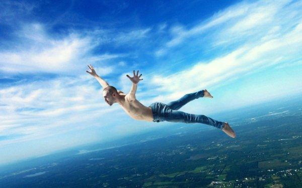 Photographie Manipulation Artistique Photoshop Man Falling Ciel Fond d'écran HD | Arrière-Plan
