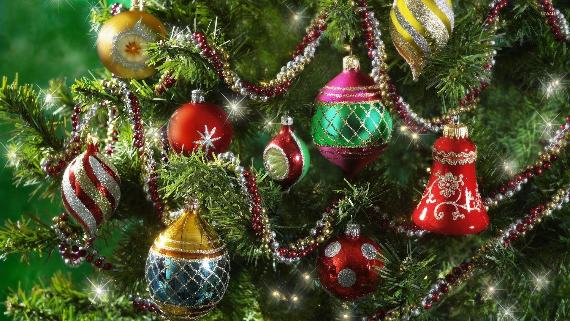 christmas ornaments on tree hd wallpaper
