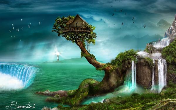 Fantasy Landscape Waterfall Treehouse Tree HD Wallpaper | Background Image