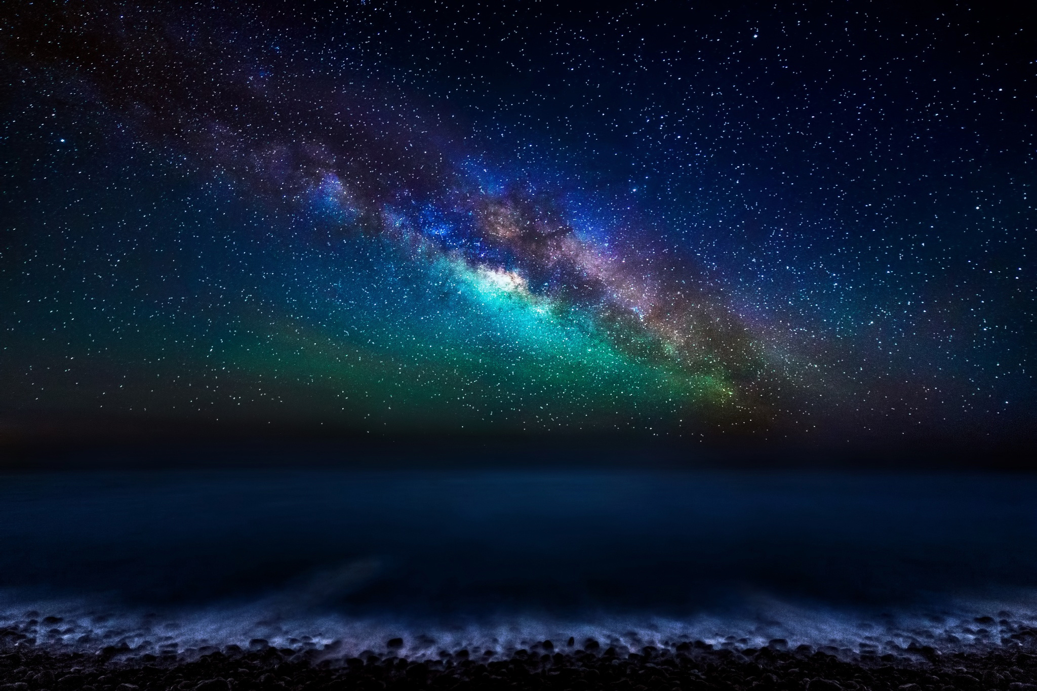 milky way sky over the ocean full hd wallpaper and