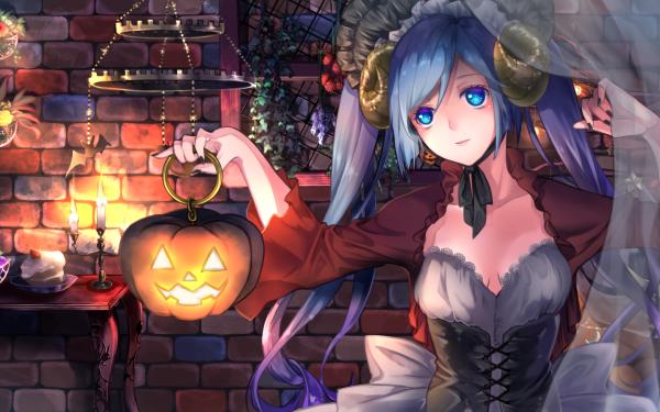 Anime Vocaloid Hatsune Miku Halloween Citrouille Fond d'écran HD | Arrière-Plan