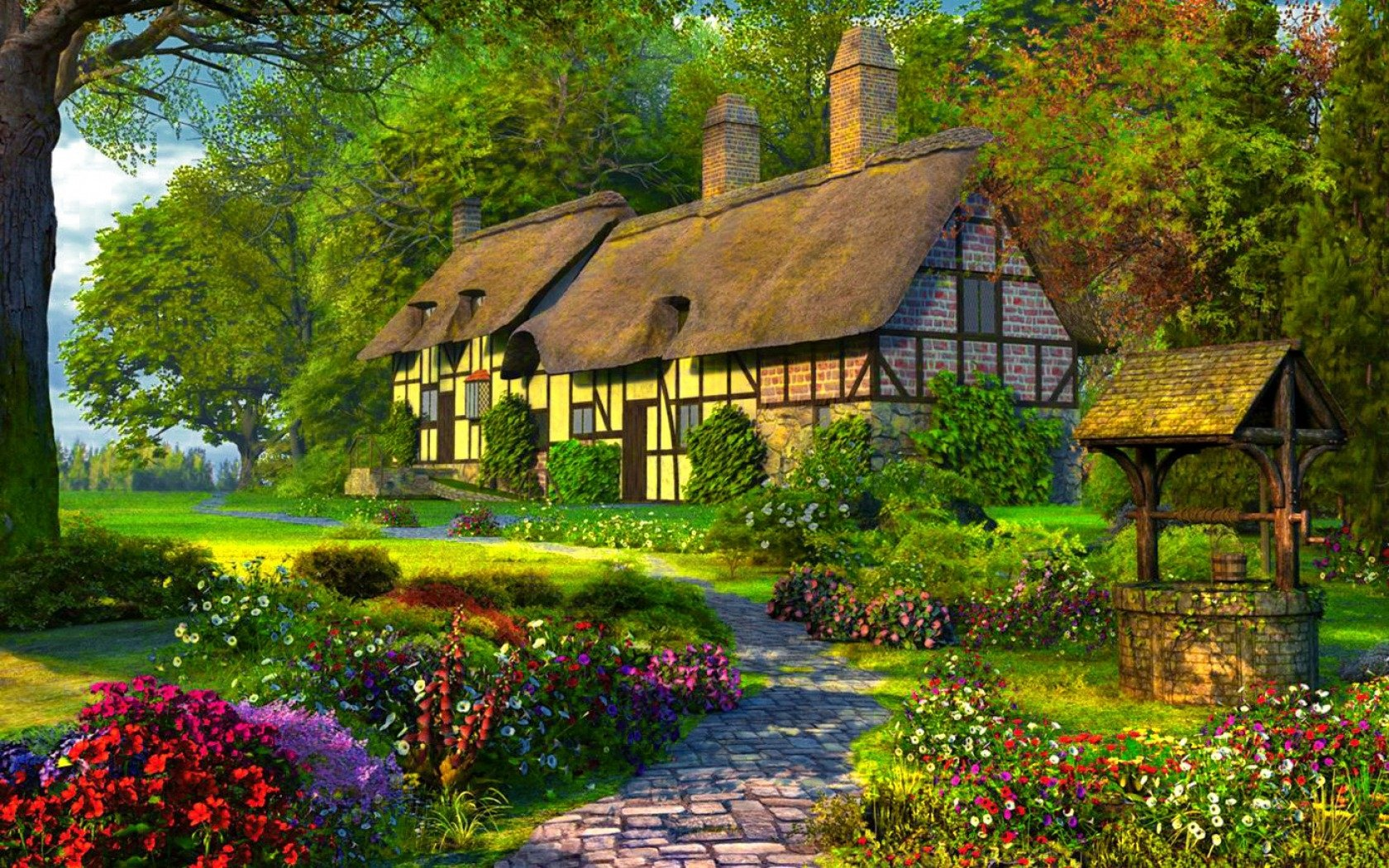 cottage in springtime wallpaper and background image