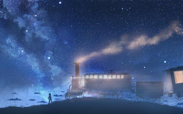Anime Original Sky Steam Train Locomotive Train HD Wallpaper | Background Image