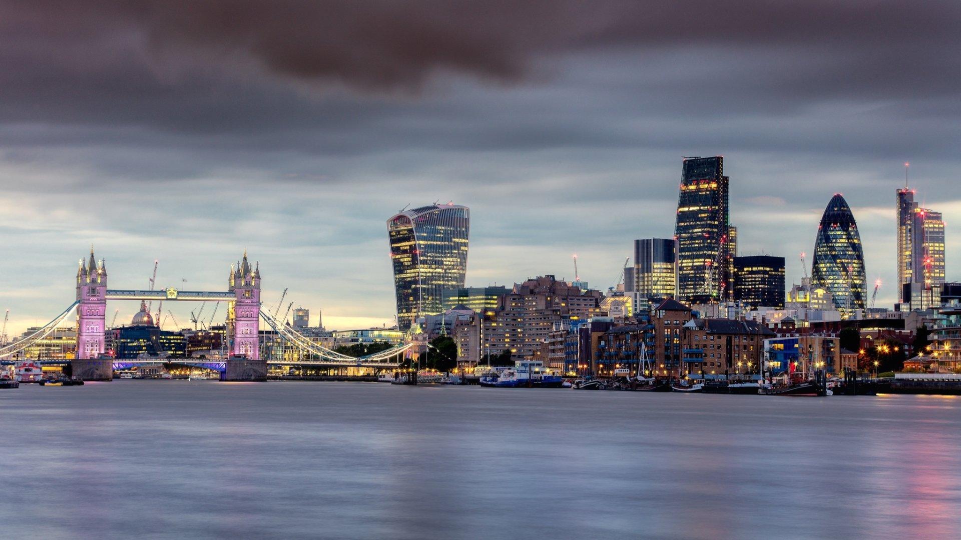 Man Made - London  City Tower Bridge United Kingdom Thames Night Building Skyscraper Wallpaper