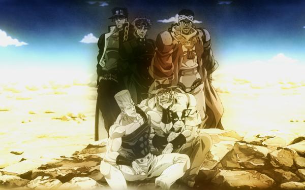 Anime Jojo's Bizarre Adventure Iggy Joseph Joestar Jean Pierre Polnareff Muhammad Avdol Noriaki Kakyoin Jotaro Kujo HD Wallpaper | Background Image