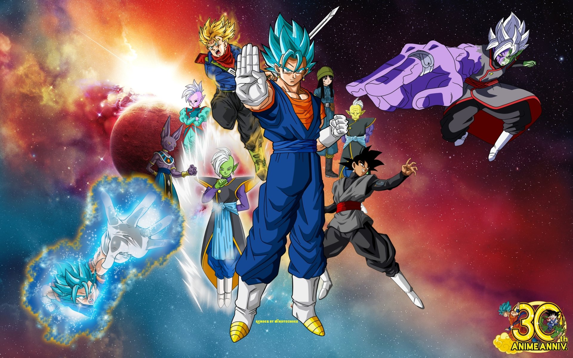 Anime - Dragon Ball Super  Black Goku Black (Dragon Ball) Zamasu (Dragon Ball) Gowasu (Dragon Ball) Mai (Dragon Ball) Trunks (Dragon Ball) SSGSS Vegito Vegito (Dragon Ball) Beerus (Dragon Ball) Supreme Kai (Dragon Ball) Wallpaper