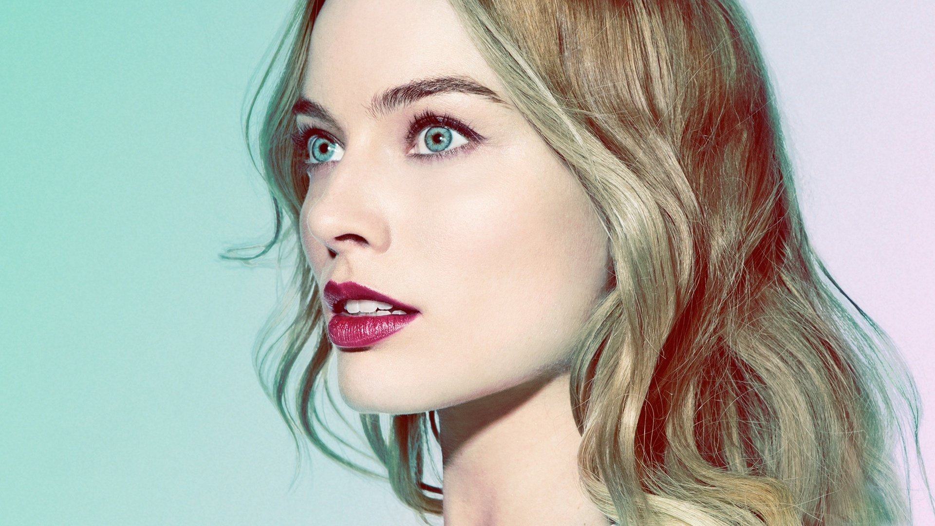 Celebrity - Margot Robbie  Actress Australian Face Blue Eyes Blonde Lipstick Wallpaper