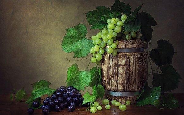 Photography Still Life Wine Grapes Barrel HD Wallpaper | Background Image