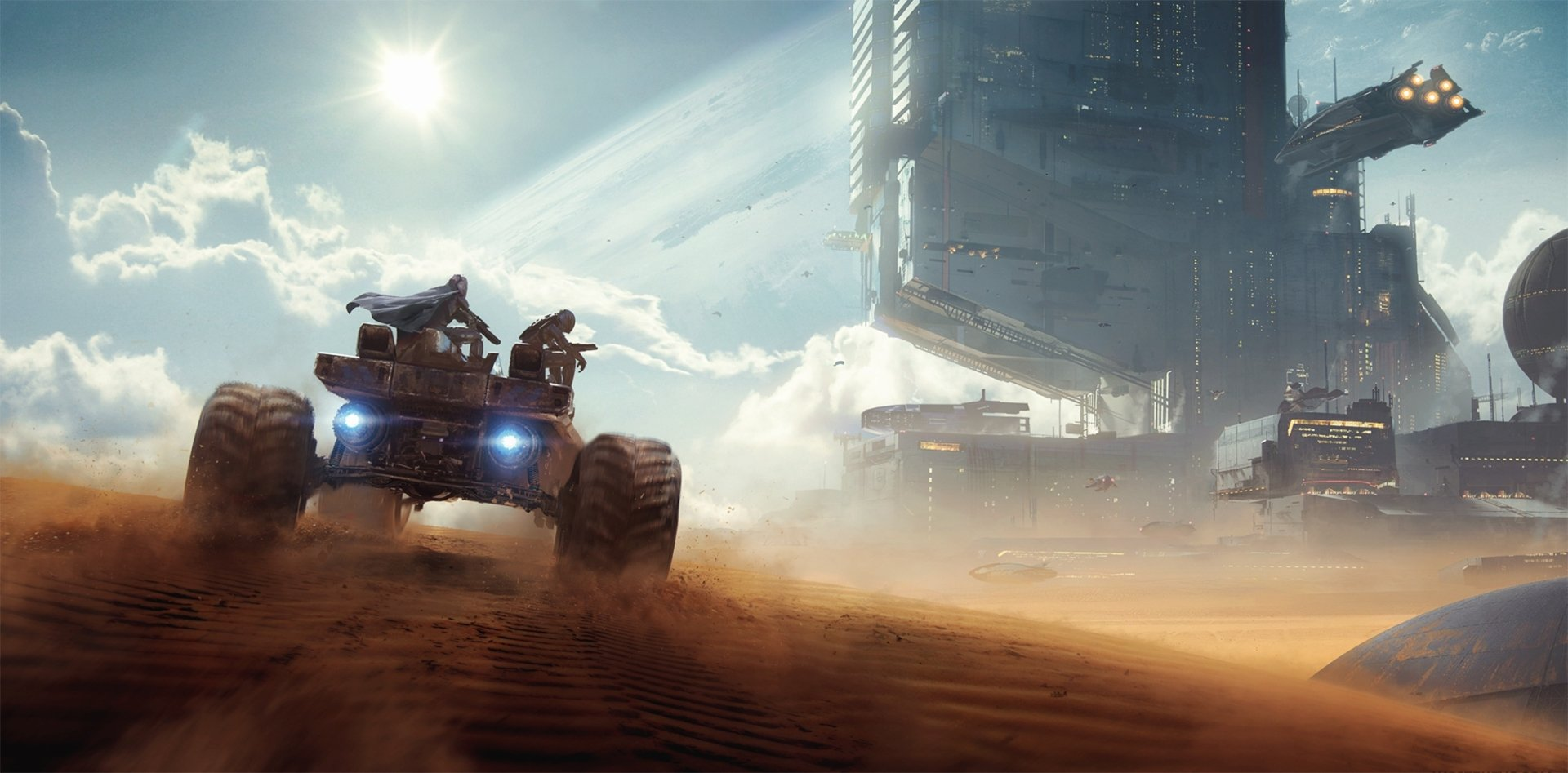 Sci Fi - Vehicle  Sand Building Wallpaper