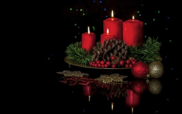 Holiday Christmas Candle Pine Cone Christmas Ornaments HD Wallpaper   Background Image