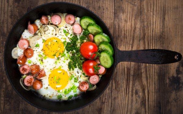 Food Egg Tomato Cucumber Sausage HD Wallpaper | Background Image