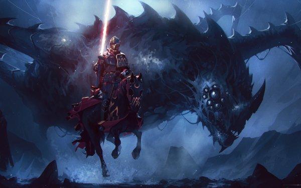 Fantasy Knight Dark Creature Warrior Armor Lance HD Wallpaper   Background Image