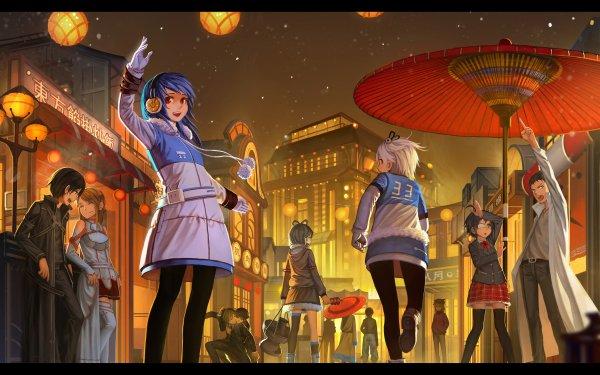 Anime Crossover Fate/Zero Gintama Neon Genesis Evangelion Sword Art Online Vocaloid Steins;Gate Bili Girl 33 Kirito Luo Tianyi Rintaro Okabe Gintoki Sakata Asuka Langley Sohryu Rikka Takanashi Asuna Yuuki Fondo de pantalla HD | Fondo de Escritorio