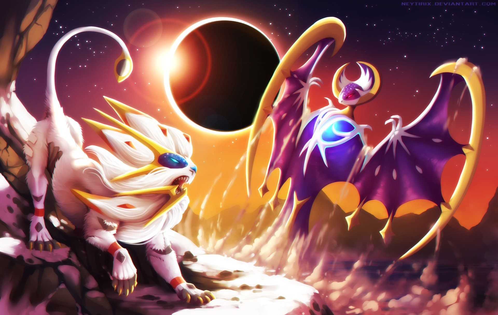 Video Game - Pokémon: Sun and Moon  Solgaleo (Pokémon) Lunala (Pokémon) Pokémon Sun And Moon Wallpaper